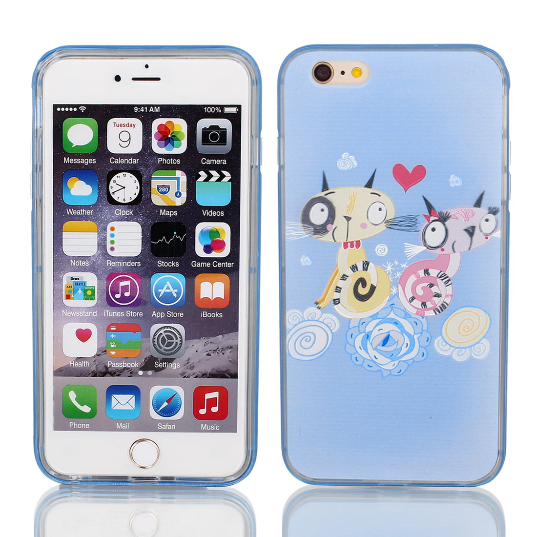 "Soft Plastic Cats Pattern Ultra Thin Case Cover w Bumper Frame for Apple iPhone 6 Plus 5.5"" Maya Blue"