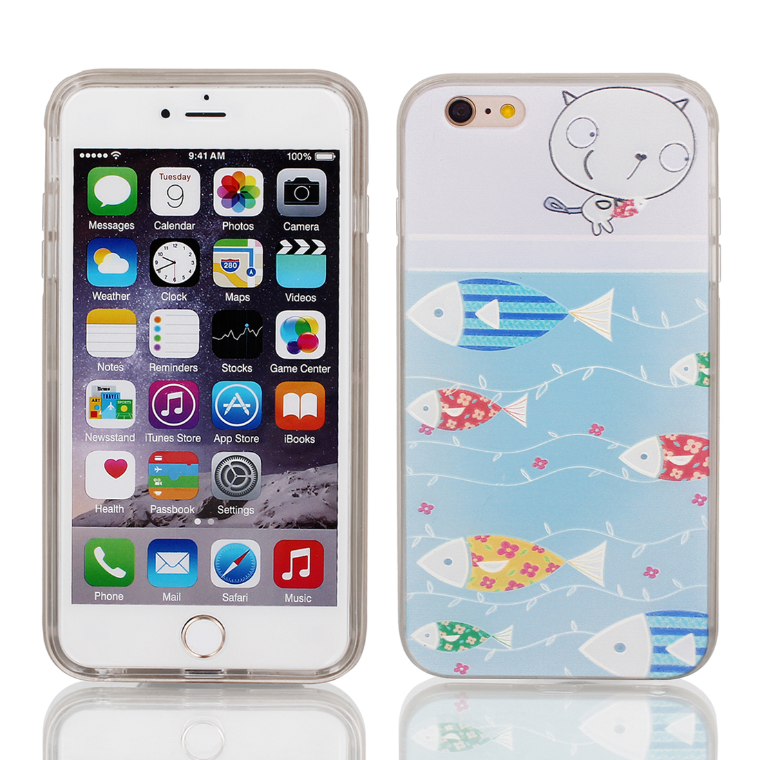 "Soft Plastic Fish Print Ultra Thin Case Cover Protector w Bumper Frame for Apple iPhone 6 Plus 5.5"" Light Blue"
