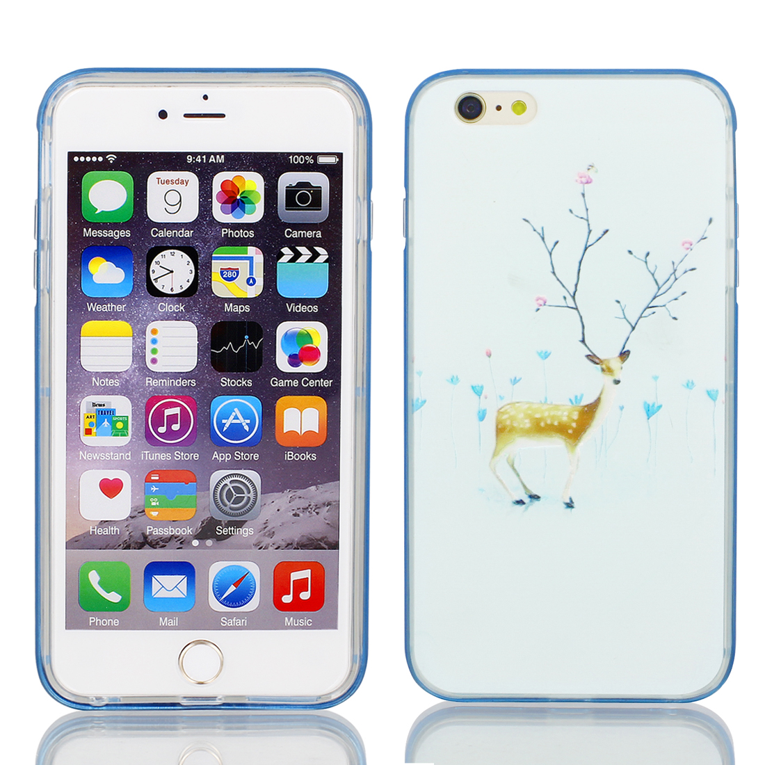"""Soft Plastic Sika Print Ultra Thin Case Cover Protector w Bumper Frame for Apple iPhone 6 Plus 5.5"""" Pale Green"""