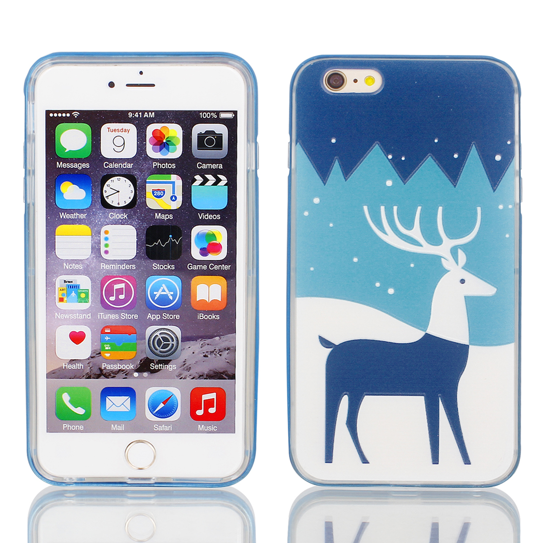 "Soft Plastic Antelope Print Ultra Thin Case Cover w Bumper Frame for Apple iPhone 6 Plus 5.5"" Dark Blue"