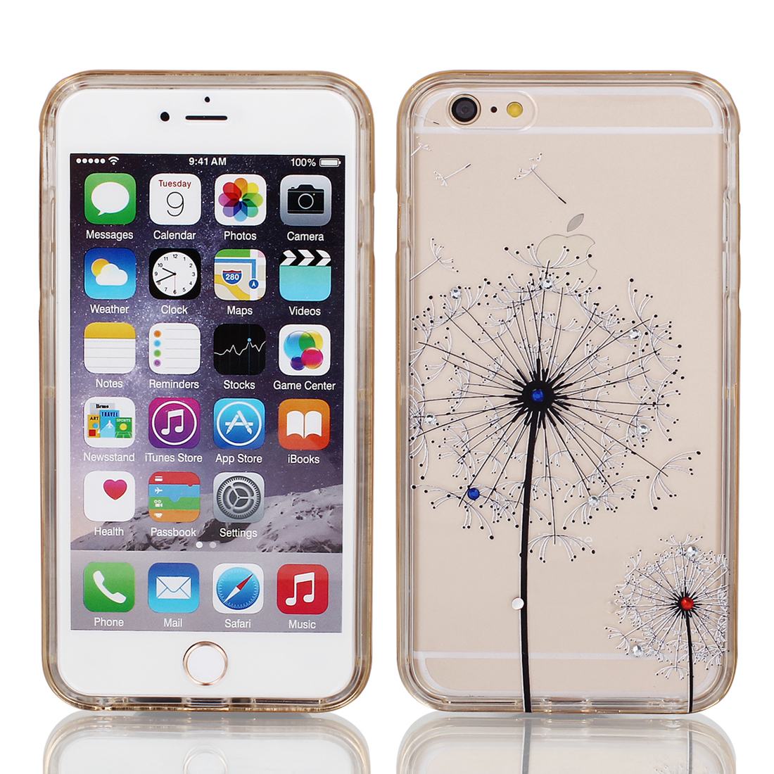 Soft Plastic Dandelion Print Ultra Thin Case Cover Protector w Bumper Frame for Apple iPhone 6 Plus 5.5""