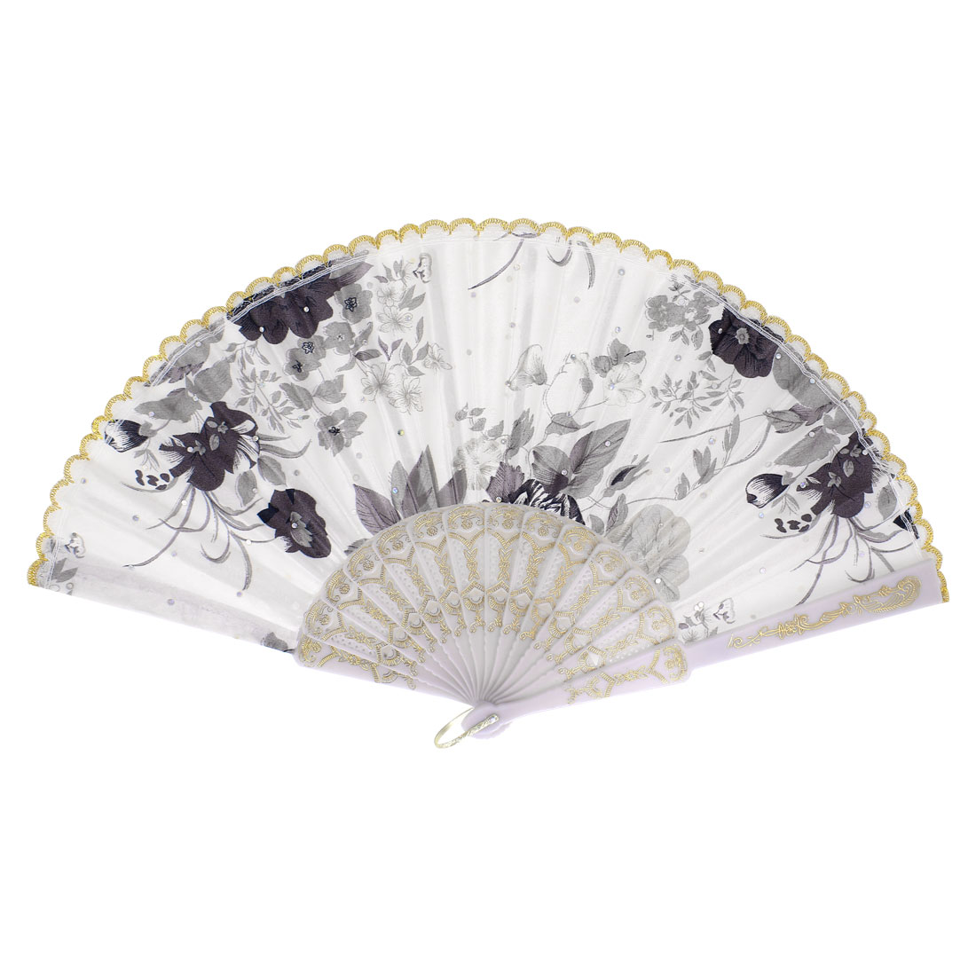Handmade Chinese Flower Pattern Lace Silk Glittery Squins Decoration Folding Hand Fan Tri Color