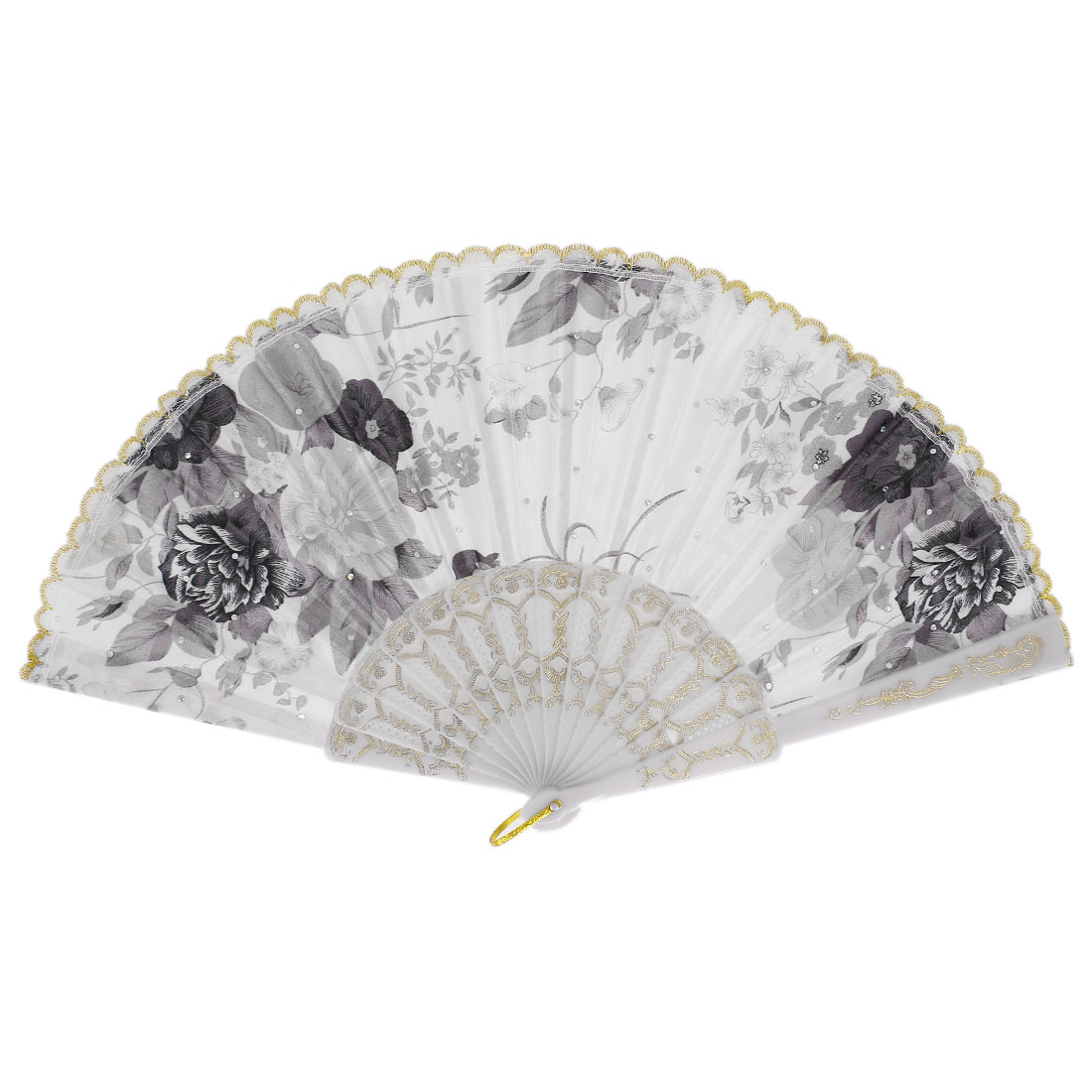 Ladies Women Lace Silk Flower Print Glittery Squins Decoration Folding Hand Held Fan Tri Color