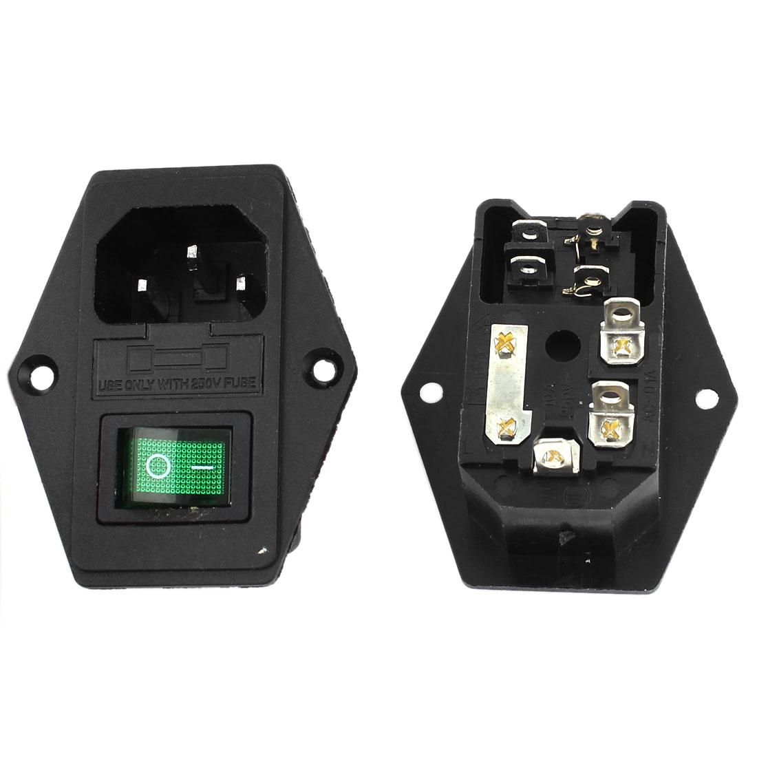 2 Pcs Green Plastic Housing IEC320 C14 Power Socket 7 Pins w Fuse Holder