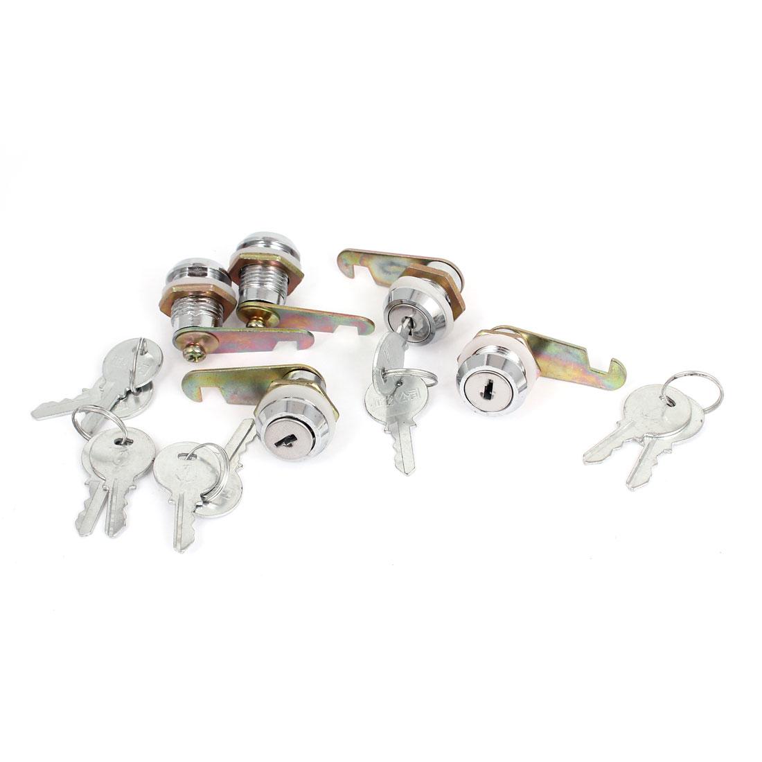 Cabinet Mailbox Toolbox Drawer 17.5mm Dia Thread Shaft Tubular Cam Lock 5pcs