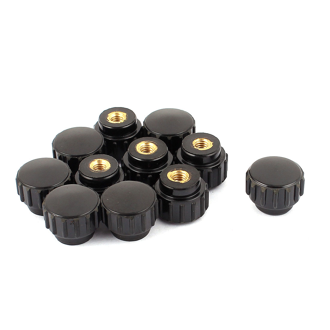 New Replacement 4mm Dia Female Thread Plastic Grip Nuts Head Knurled Knobs