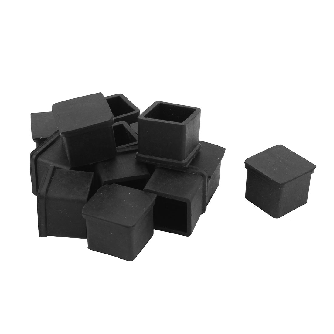 Rubber Furniture Chair Table Desk Leg Square Feet Cover Protector Black 13pcs