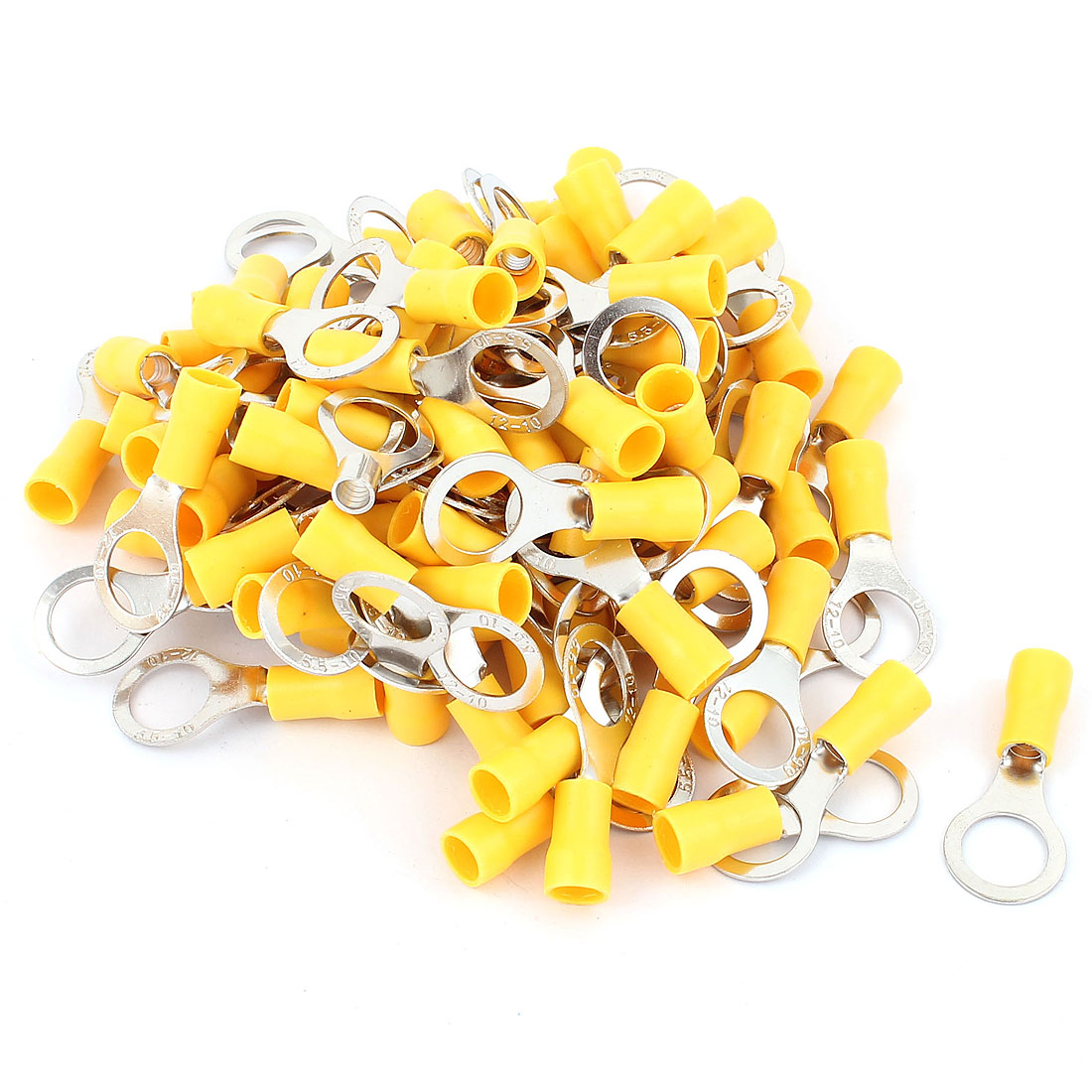 100pcs Cable Connector Pre-Insulated Ring Terminal RV5.5-10 for AWG 12-10 Wire