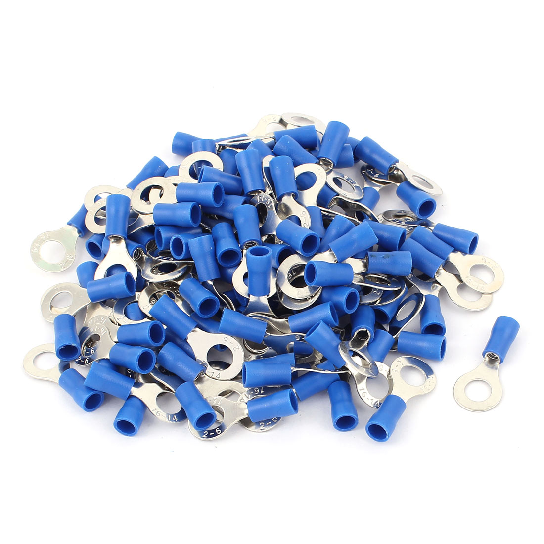 120pcs Cable Connector Pre-Insulated Ring Terminal RV2-6 for AWG 16-14 Wire