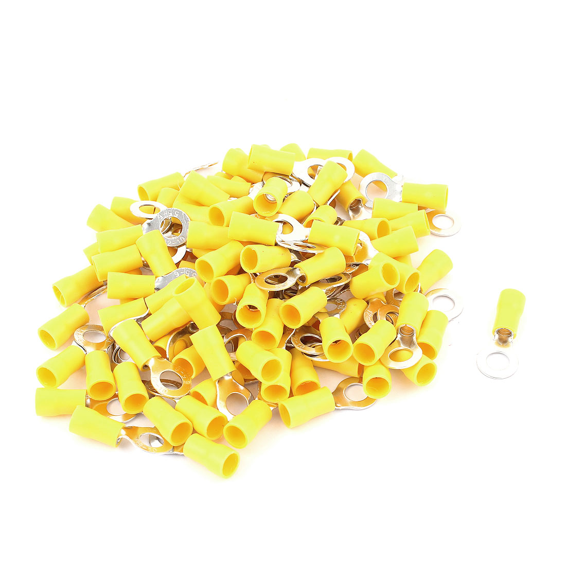 100pcs Cable Connector Pre-Insulated Ring Terminal RV5.5-6 for AWG 12-10 Wire