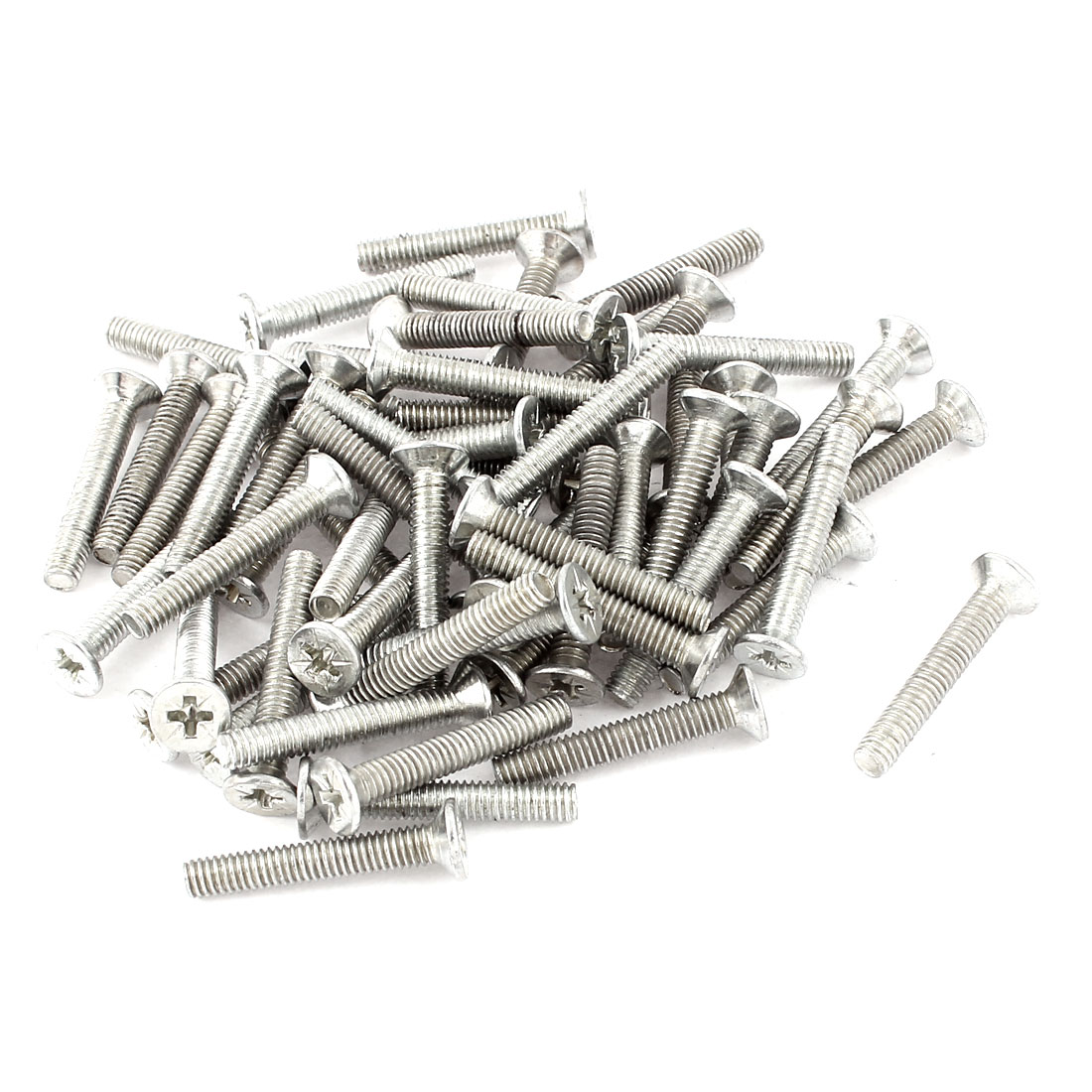 M4x20 Flat Head Cross Recessed Stainless Steel Screw Silver Tone 60pcs
