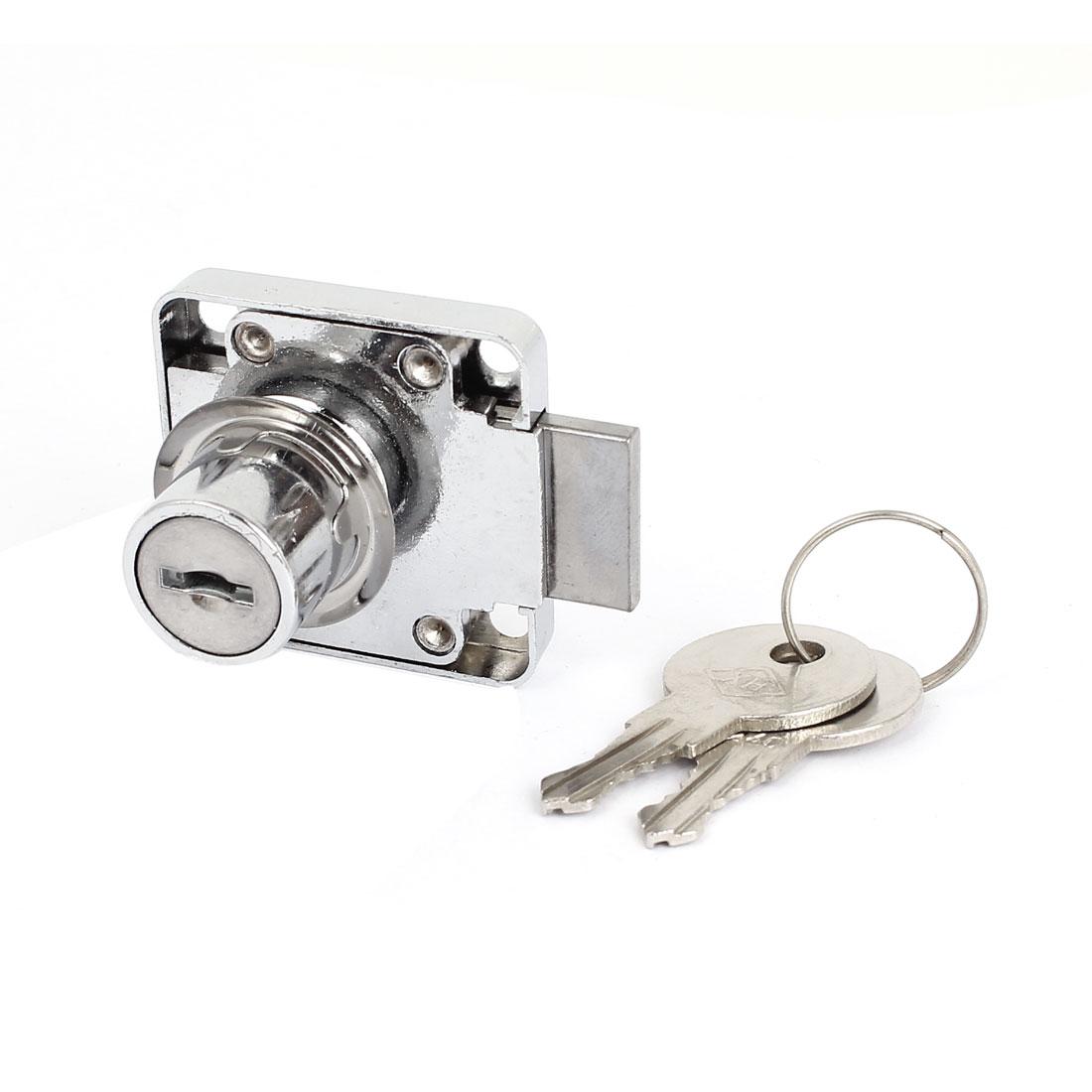 Square Base Cabinet Showcase Door Cylinder Rim Security Drawer Lock w 2 Keys