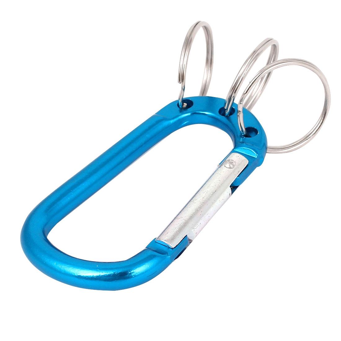 Outdoor Camping Keys Bag Holder 3 Split Keyring Carabiners Clip Hook Teal Blue