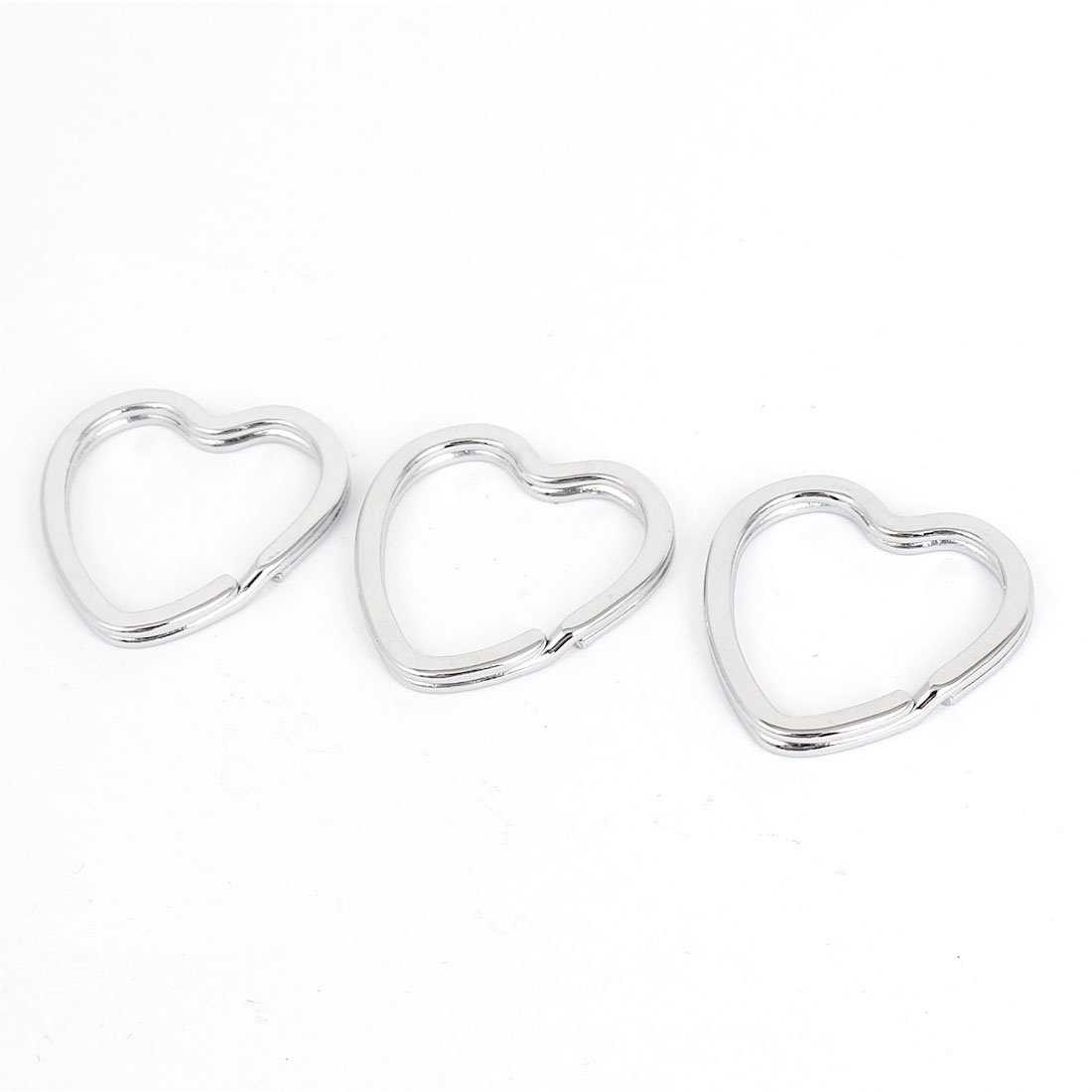 3 Pcs Silver Tone Metal Heart Design Double Flat Loop Split Rings Keyrings