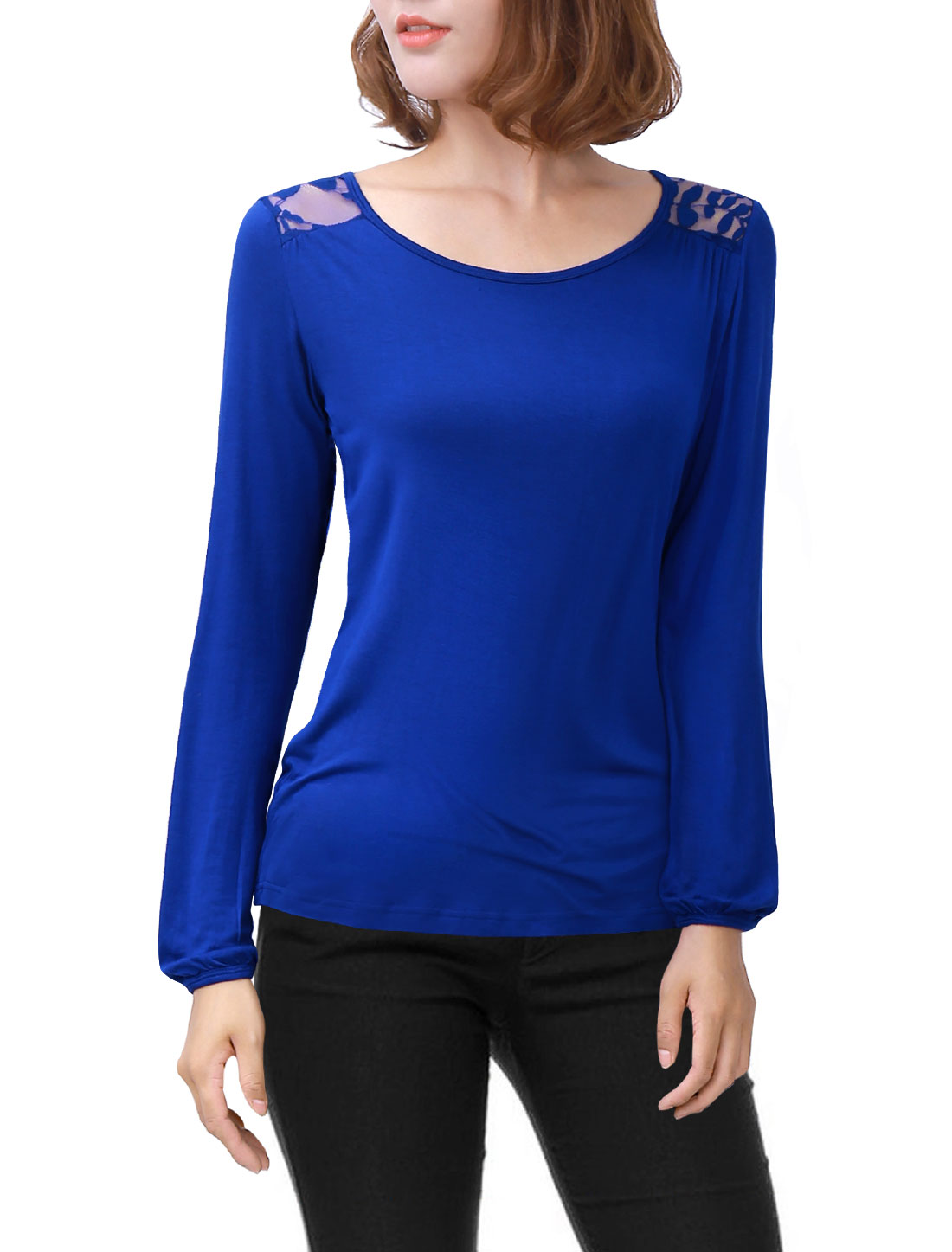 Woman Lace-Paneled Long Sleeves Scoop Neck Key Hole Back Top Blue S