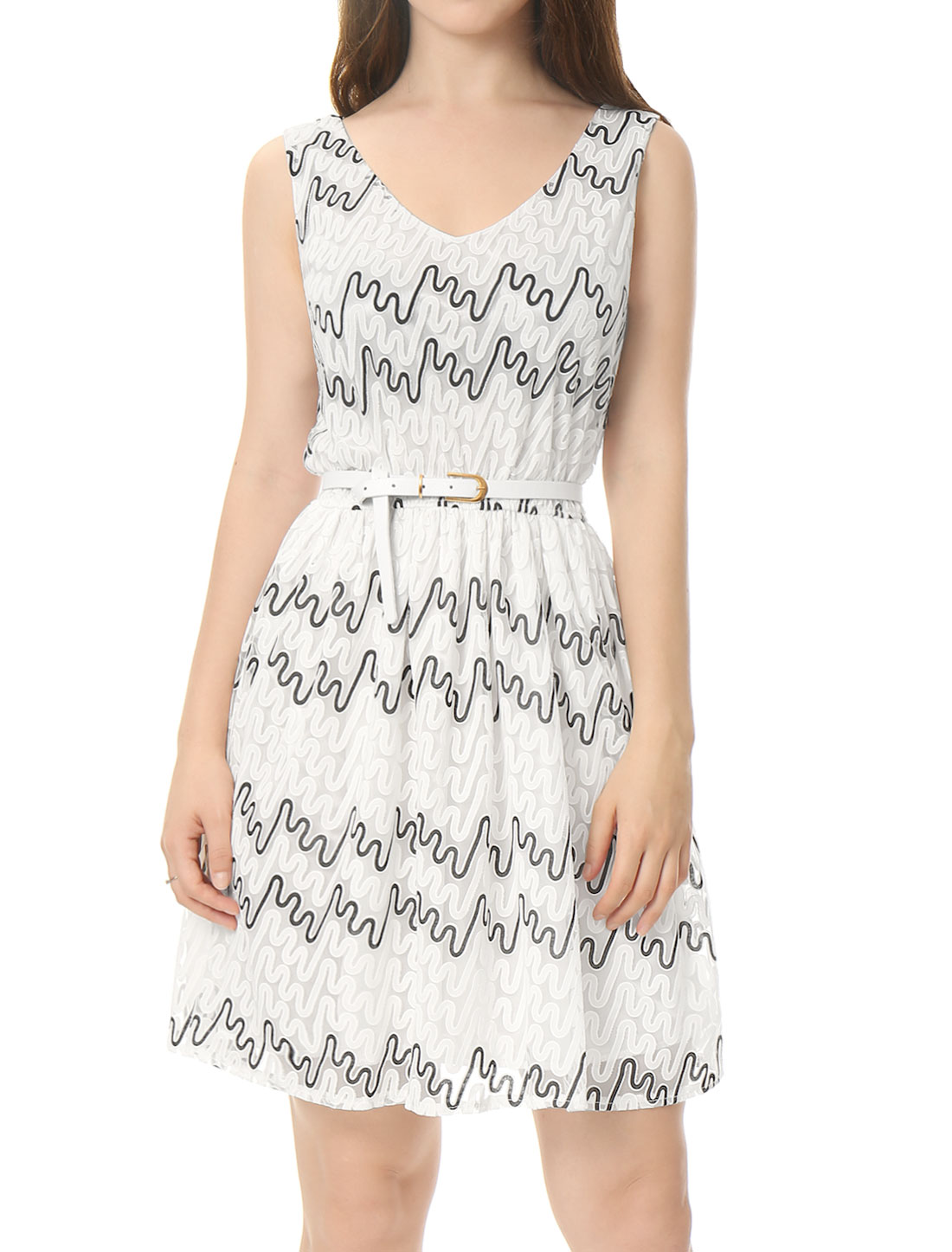 Ladies Sleeveless Novelty Print Elastic Waist Summer A Line Dress White XS