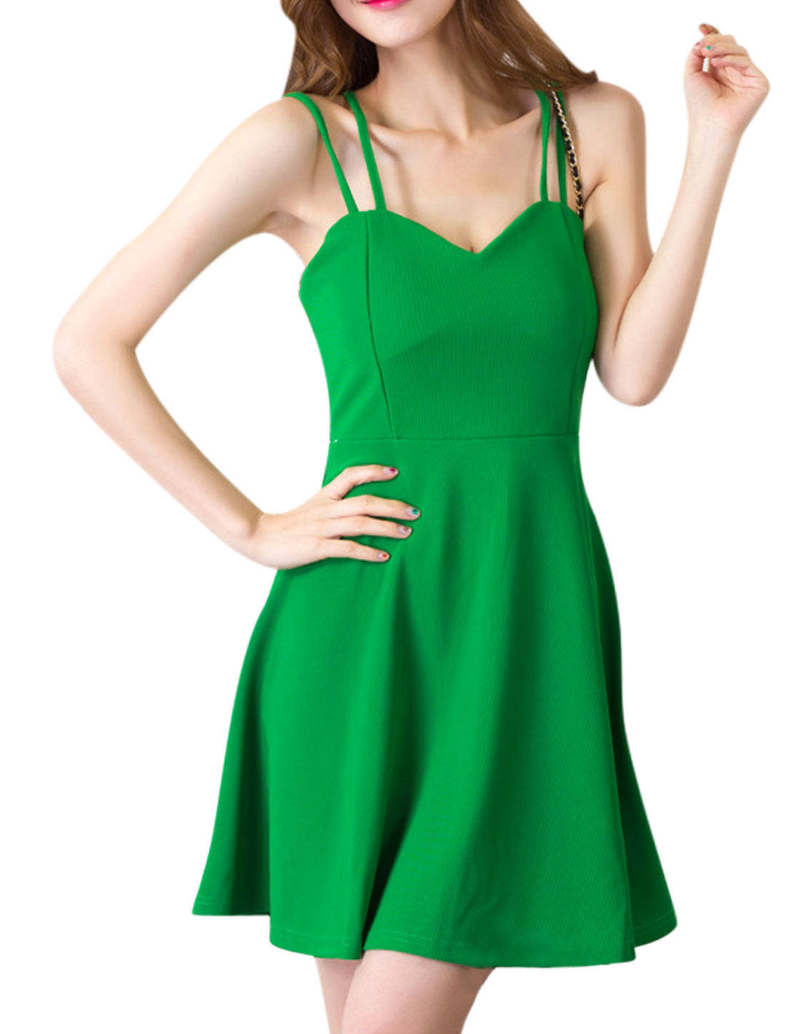 Ladies Sweetheart Neckline Spaghetti Strap Unlined Dresses Green S