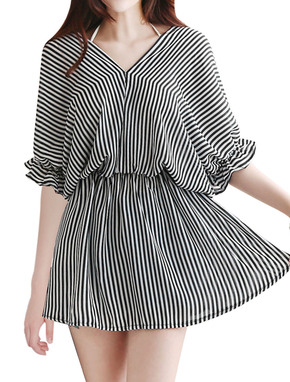 Women V Neck Vertical Stripes Elbow Batwing Sleeves Tunic Dress Black White S