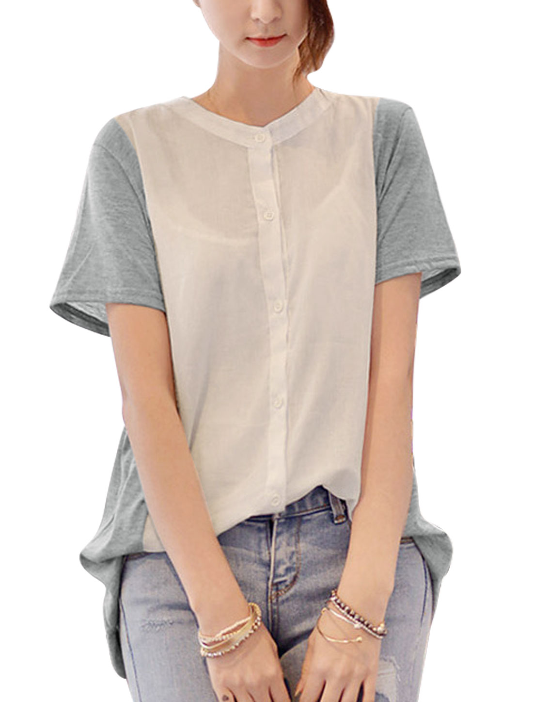 Women Stand Collar Short Sleeves Panel Design Casual Shirts Light Gray White XS
