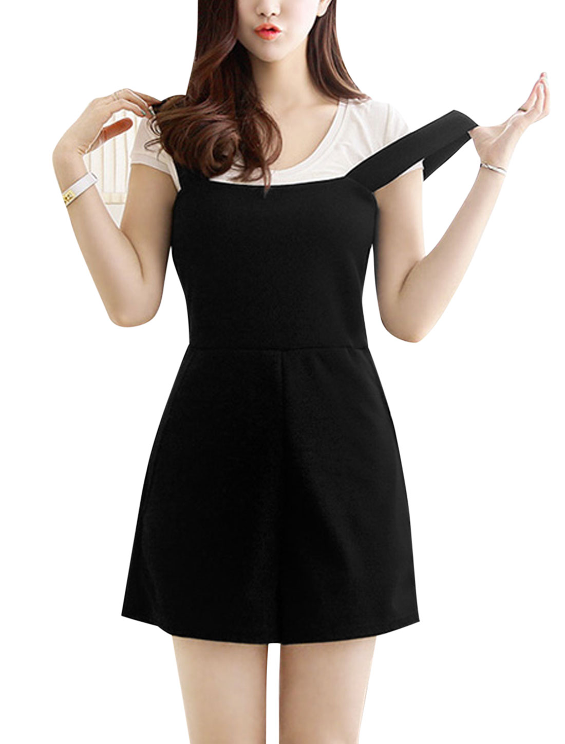 Ladies Square Neckline Sleeveless Concealed Zipper Back Playsuits Black XS