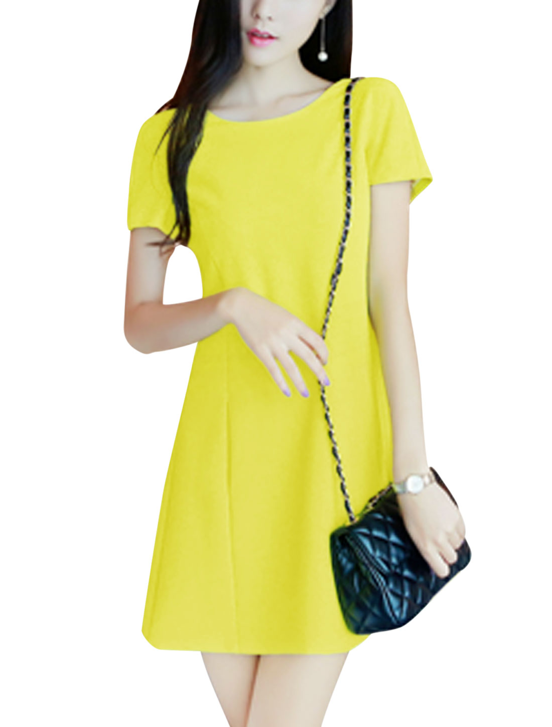 Woman Round Neck Bowknot Decor Back Short Sleeves A Line Dress Yellow M