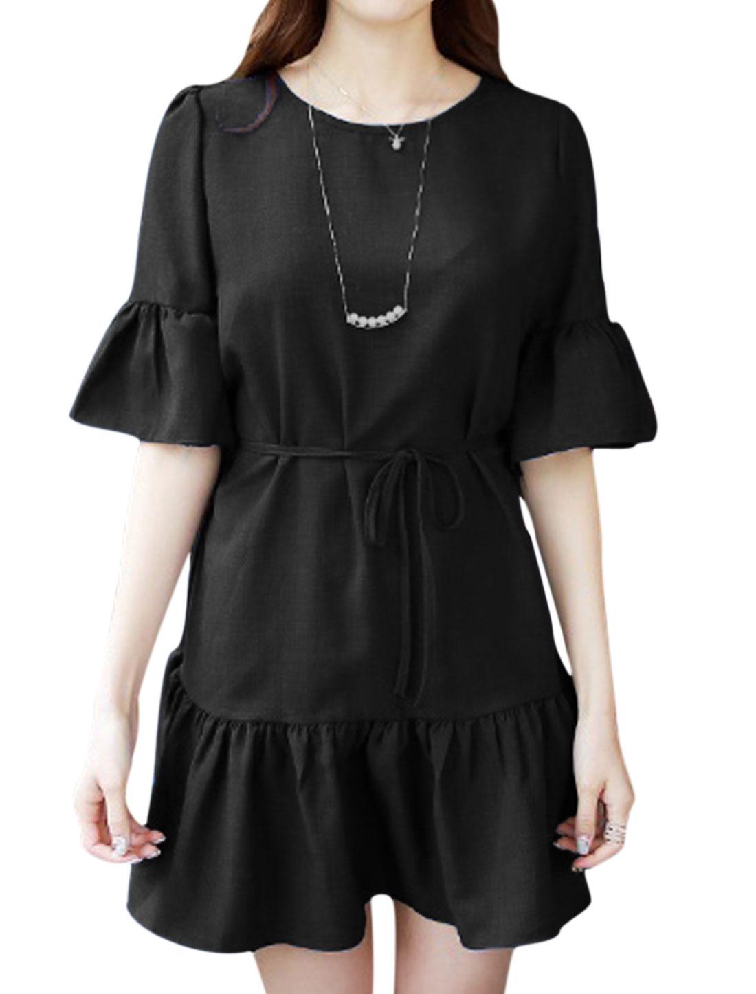 Women Half Sleeve Round Neck Waist String Dresses Black S