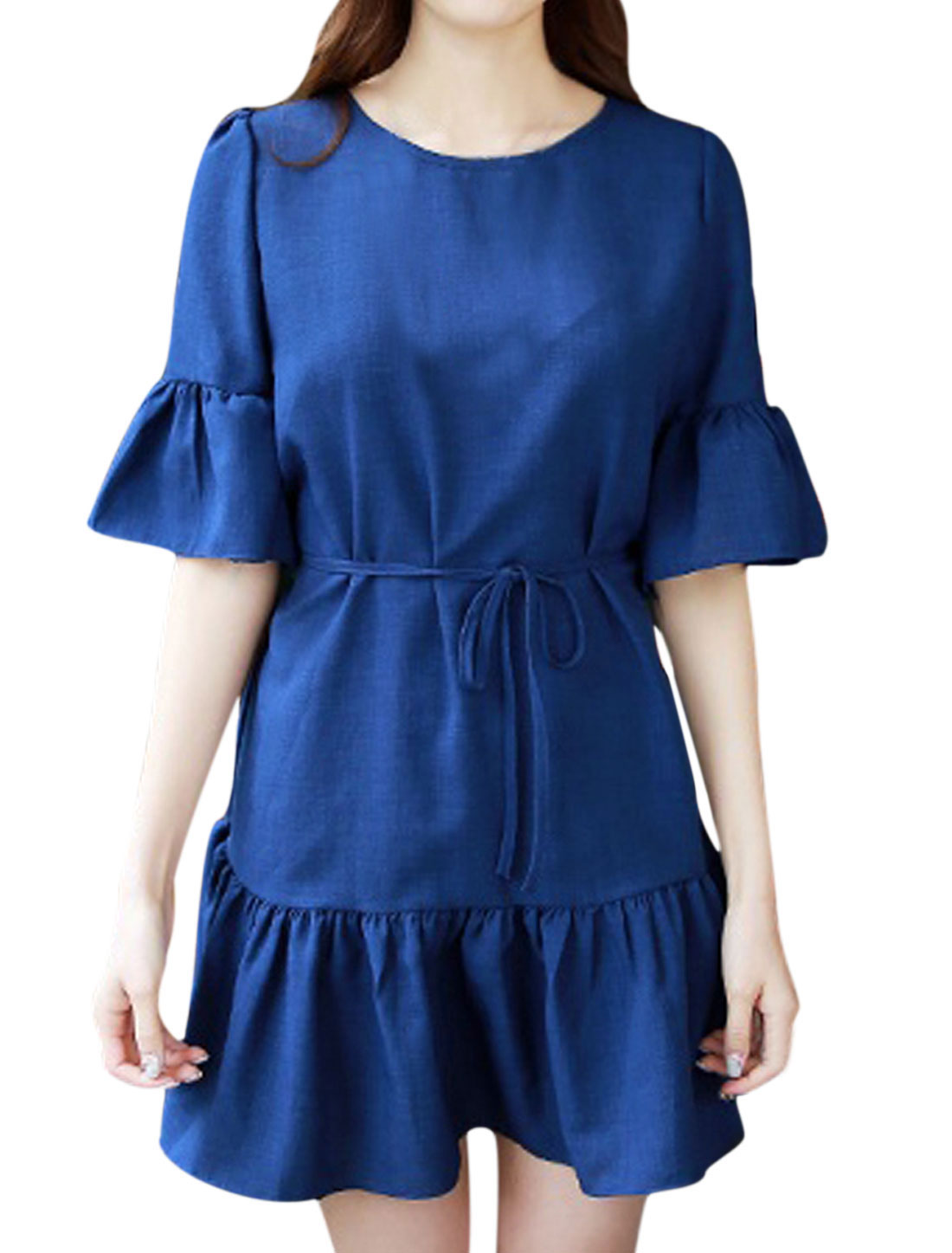Women Half Sleeve Round Neck Waist String Ruffle Hem Skater Dress Navy Blue S