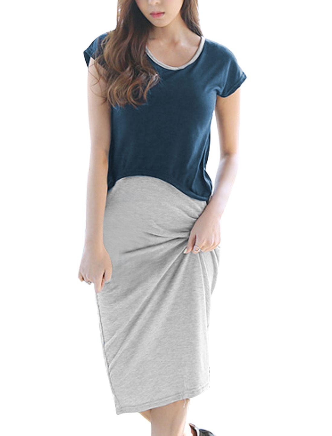 Women Dolman Sleeves Casual Tops w Sleeveless Midi Dress Navy Blue Light Gray S