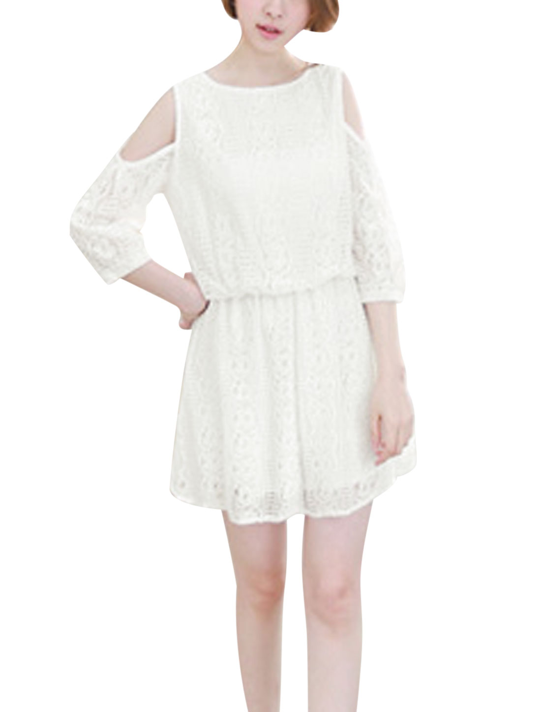 Woman Cut Out Shoulders Round Neck Elastic Waist Lace Dress White XS