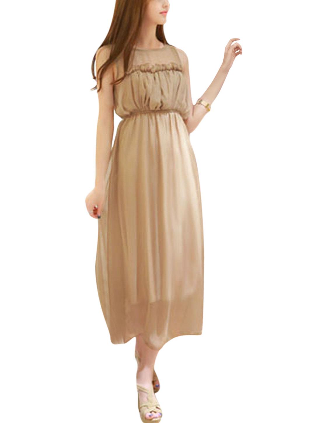 Women Round Neck Sleeveless Full Lined Elastic Waisted Chiffon Dress Camel M