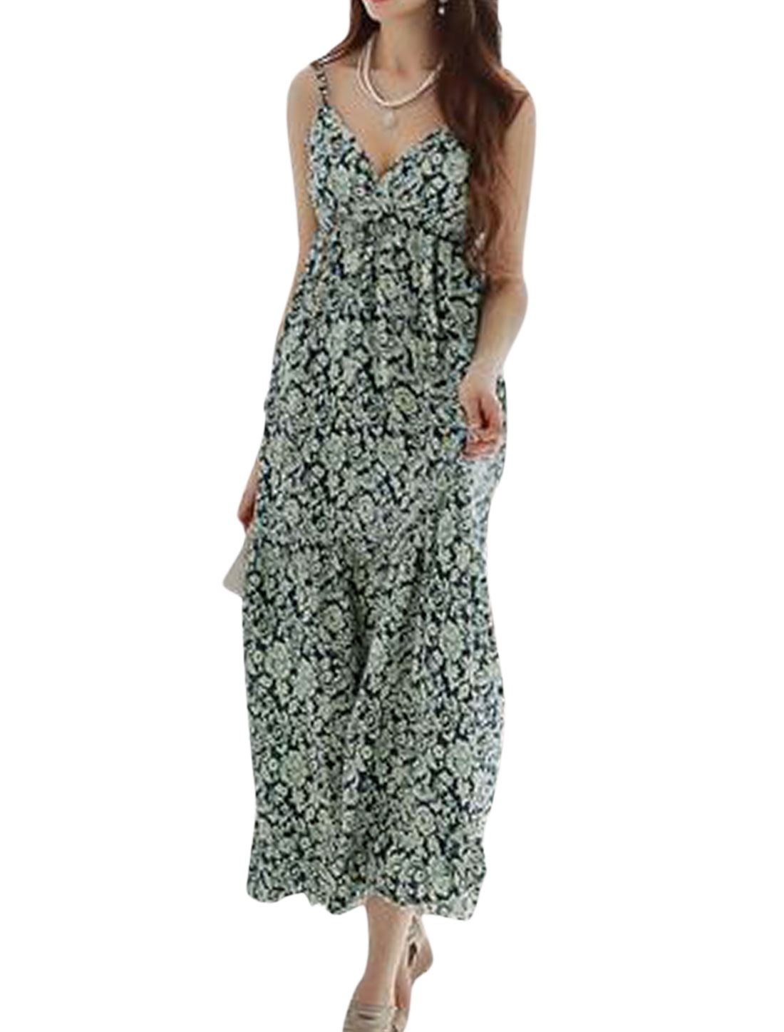 Women Crossover V Neck Floral Prints Sleeveless Unlined Maxi Dress Navy Blue M