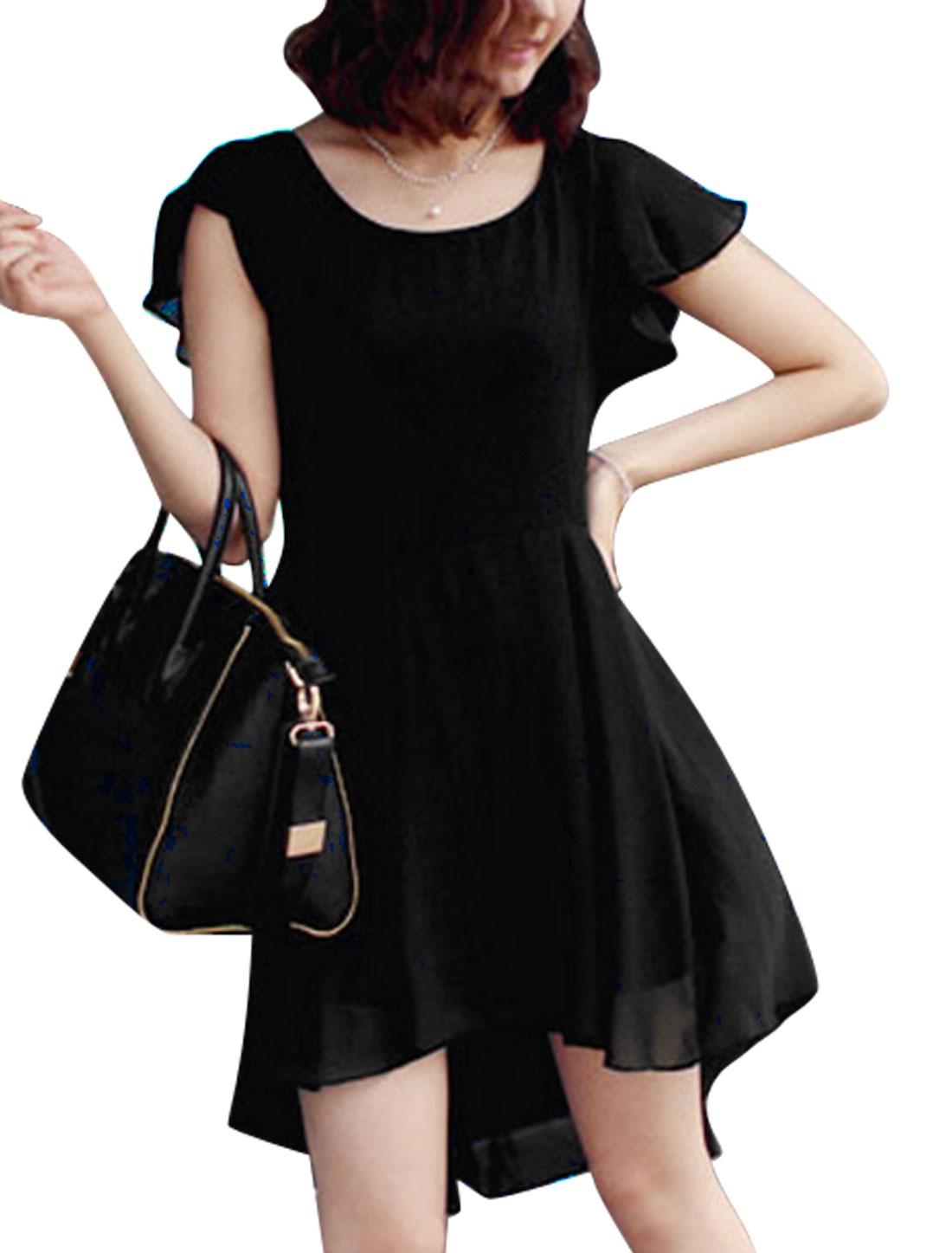 Ladies Chiffon Panel Asymmetric Hem Round Neck Dress Black M