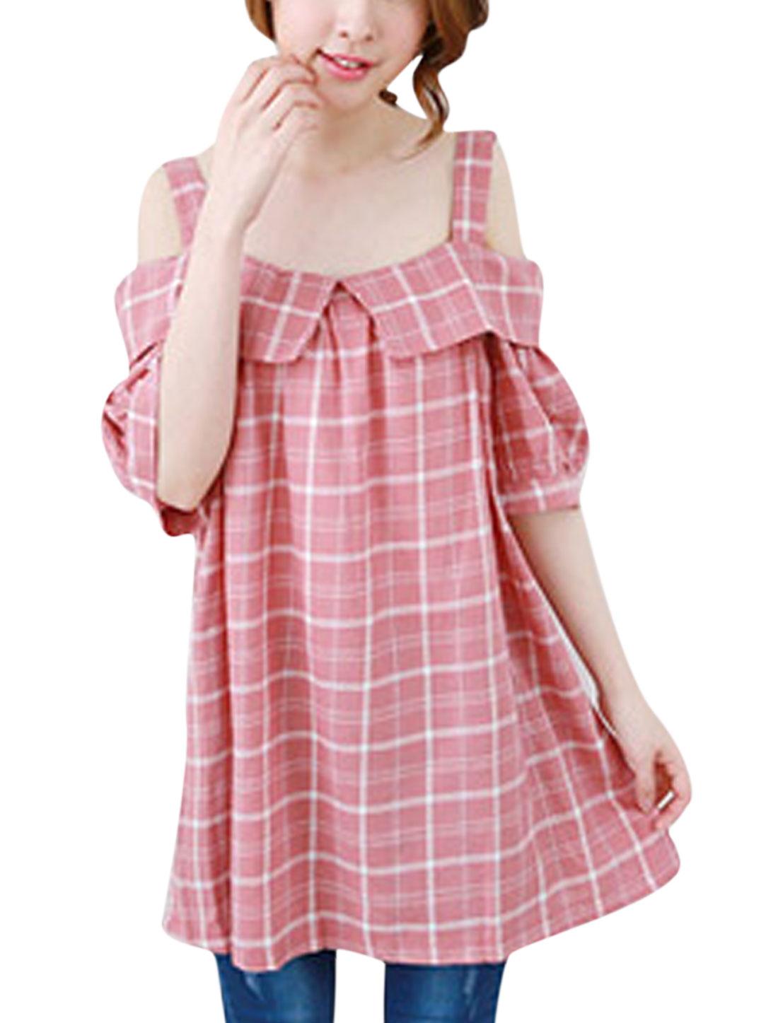 Women Cut Out Shoulder Check Print Square Neck Cape Decor Tunic Top Pink M