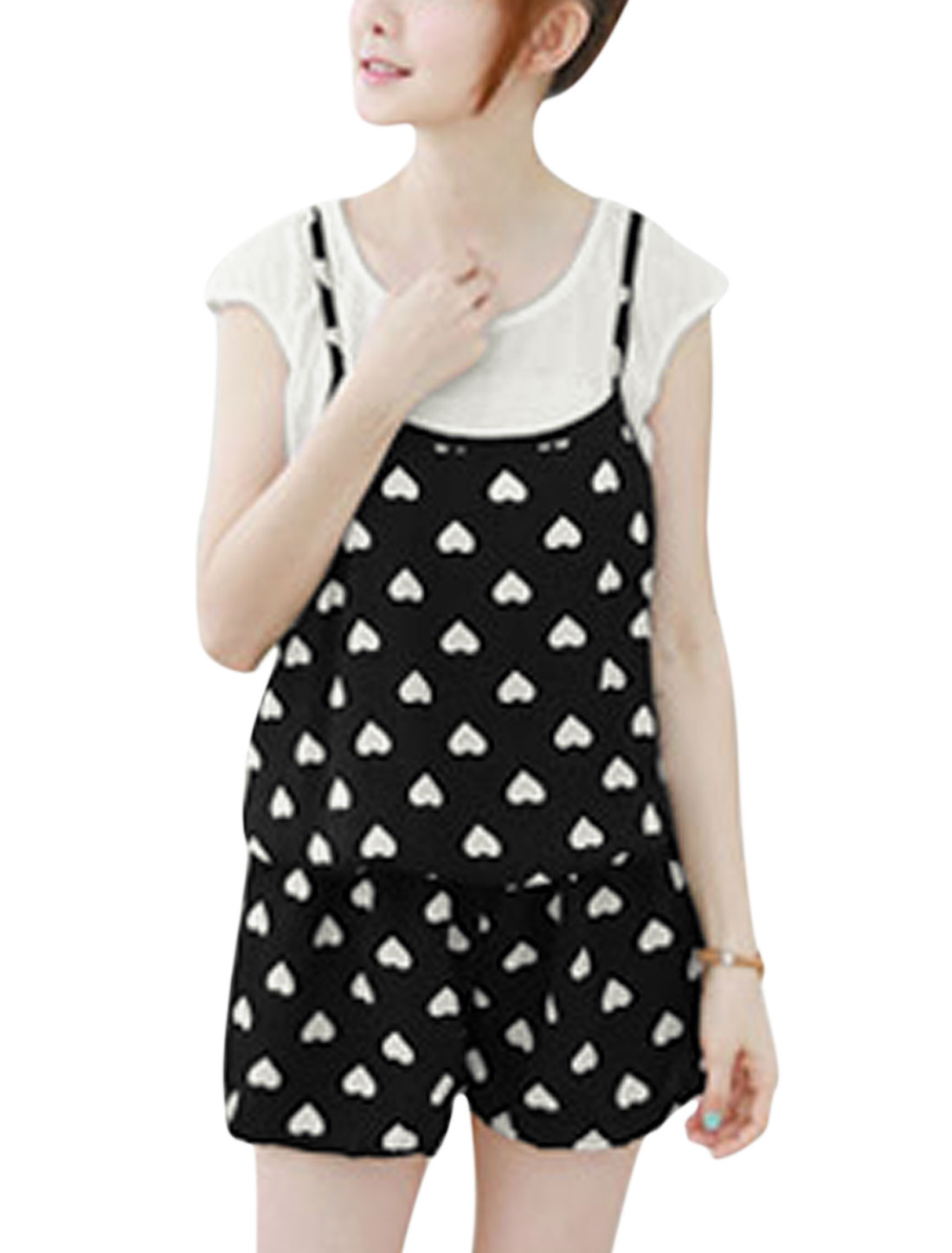 Ladies Round Neck Tops w Hearts Print Spaghetti Strap Rompers Set Black XS