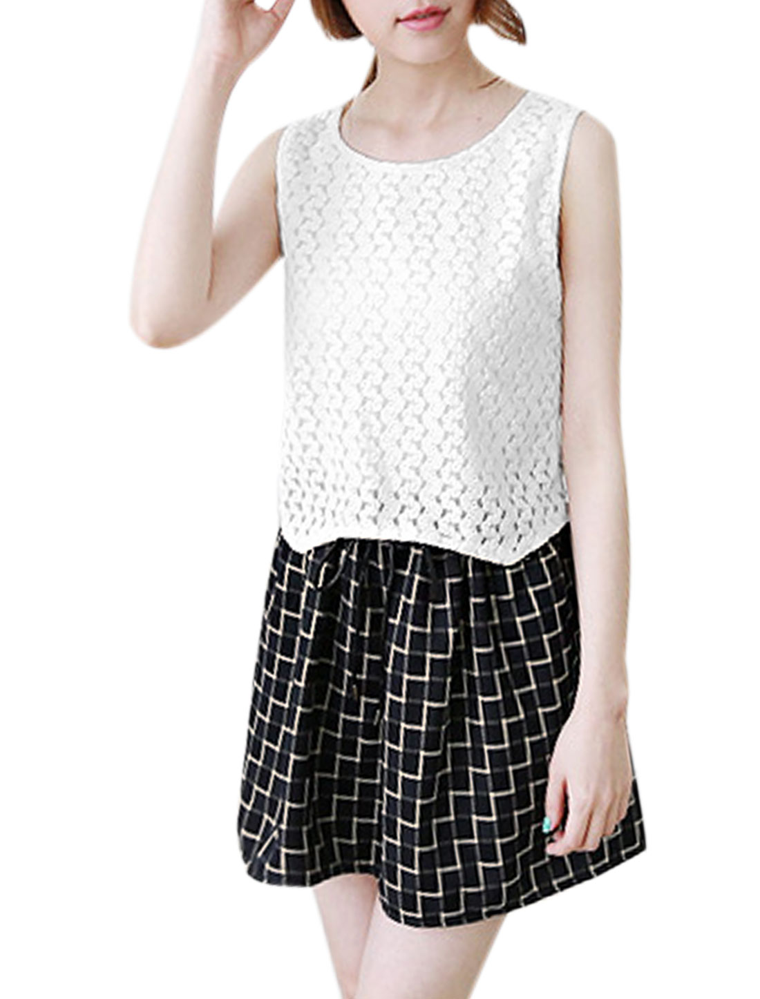 Woman Plaids Lace Panel Crop Top Sleeveless A Line Dress White Black S