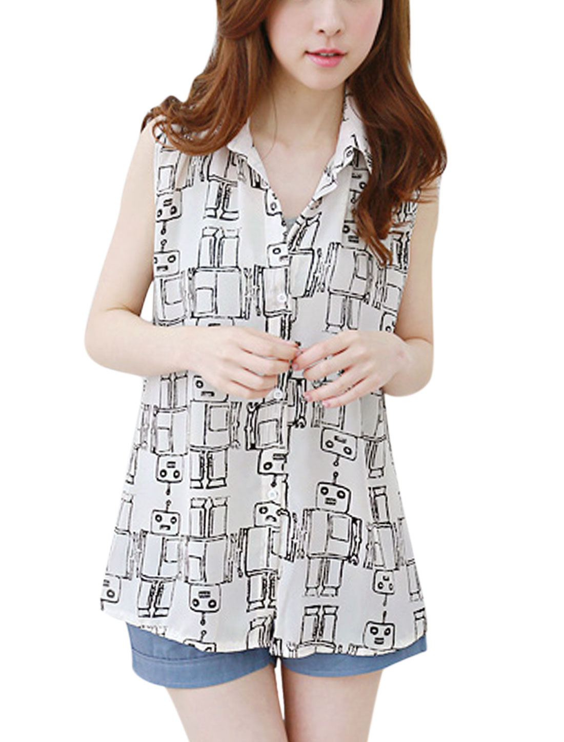 Women Point Collar Sleeveless Robot Prints Casual Shirts White S
