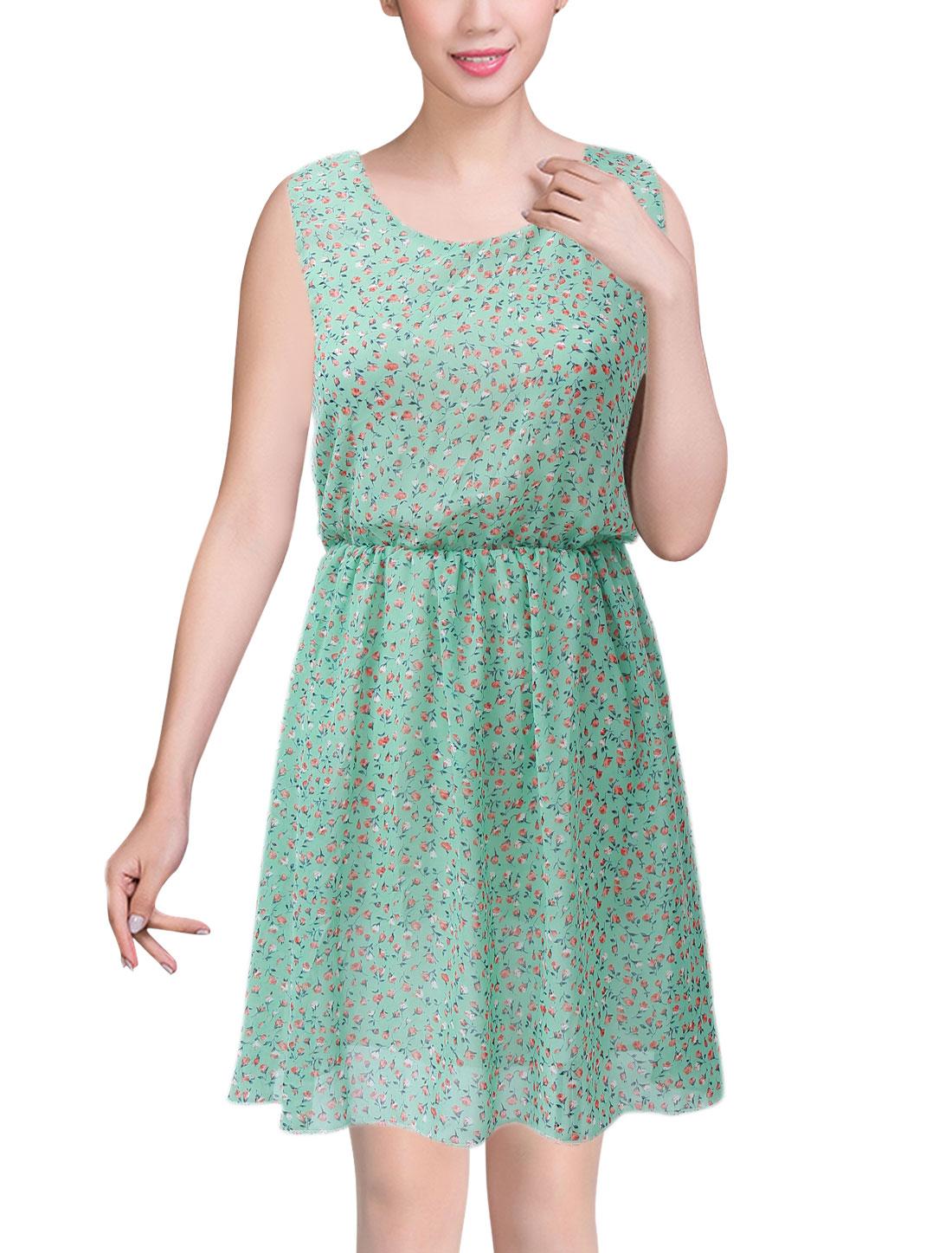 Ladies Round Neck Floral Prints Elastic Waist Casual Sundress Mint XS