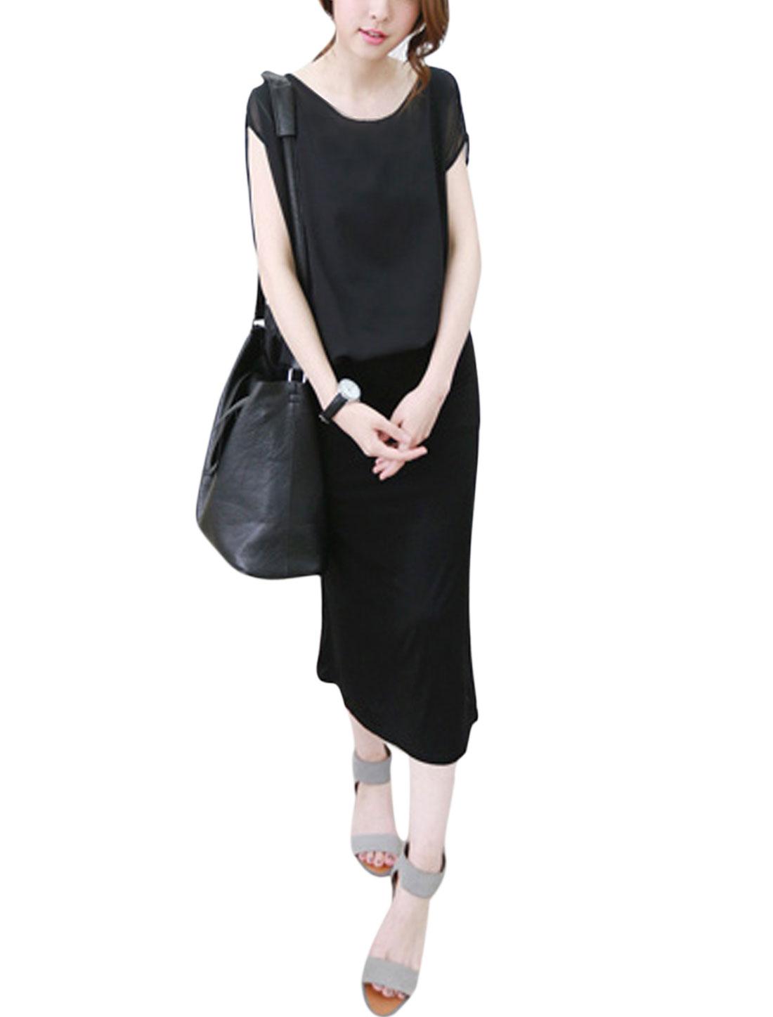 Women Short Dolman Sleeves Chiffon Panel Layered Midi Dress Black XS