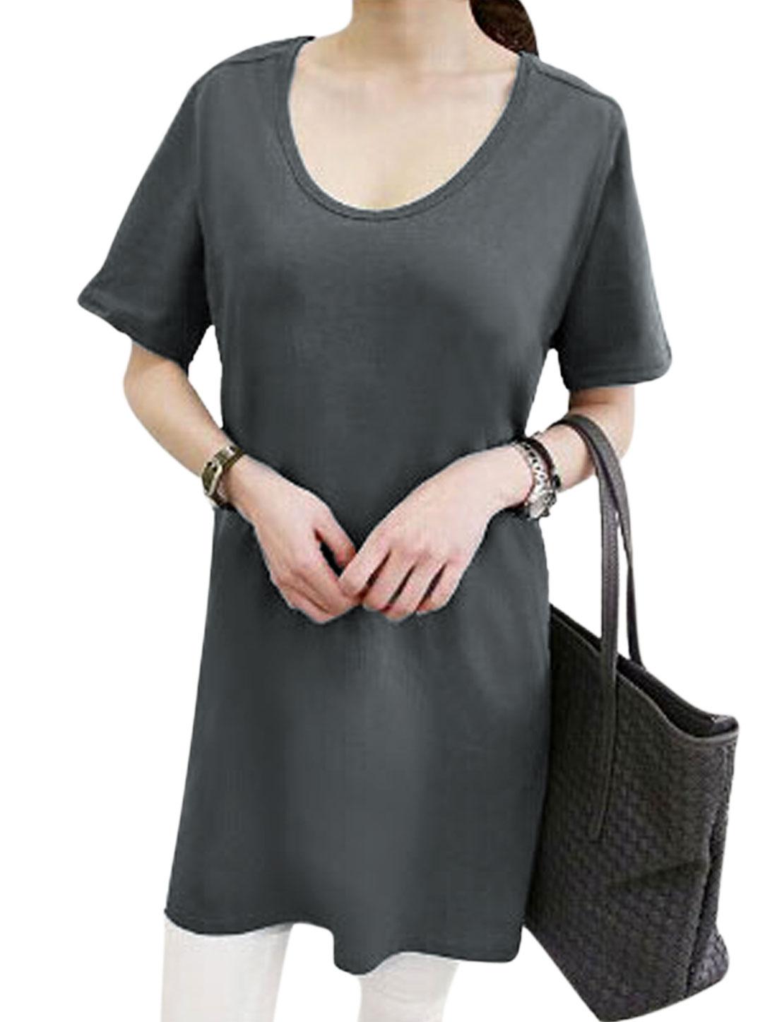 Women Short Sleeve Scoop Neck Longline Tunic T-Shirt Dark Gray XS