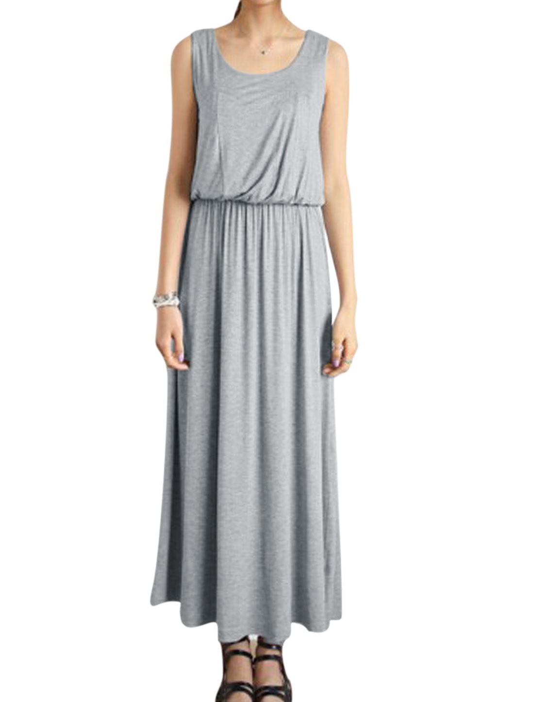 Women Sleeveless Elastic Waist Unlined Maxi Dress Light Gray XS