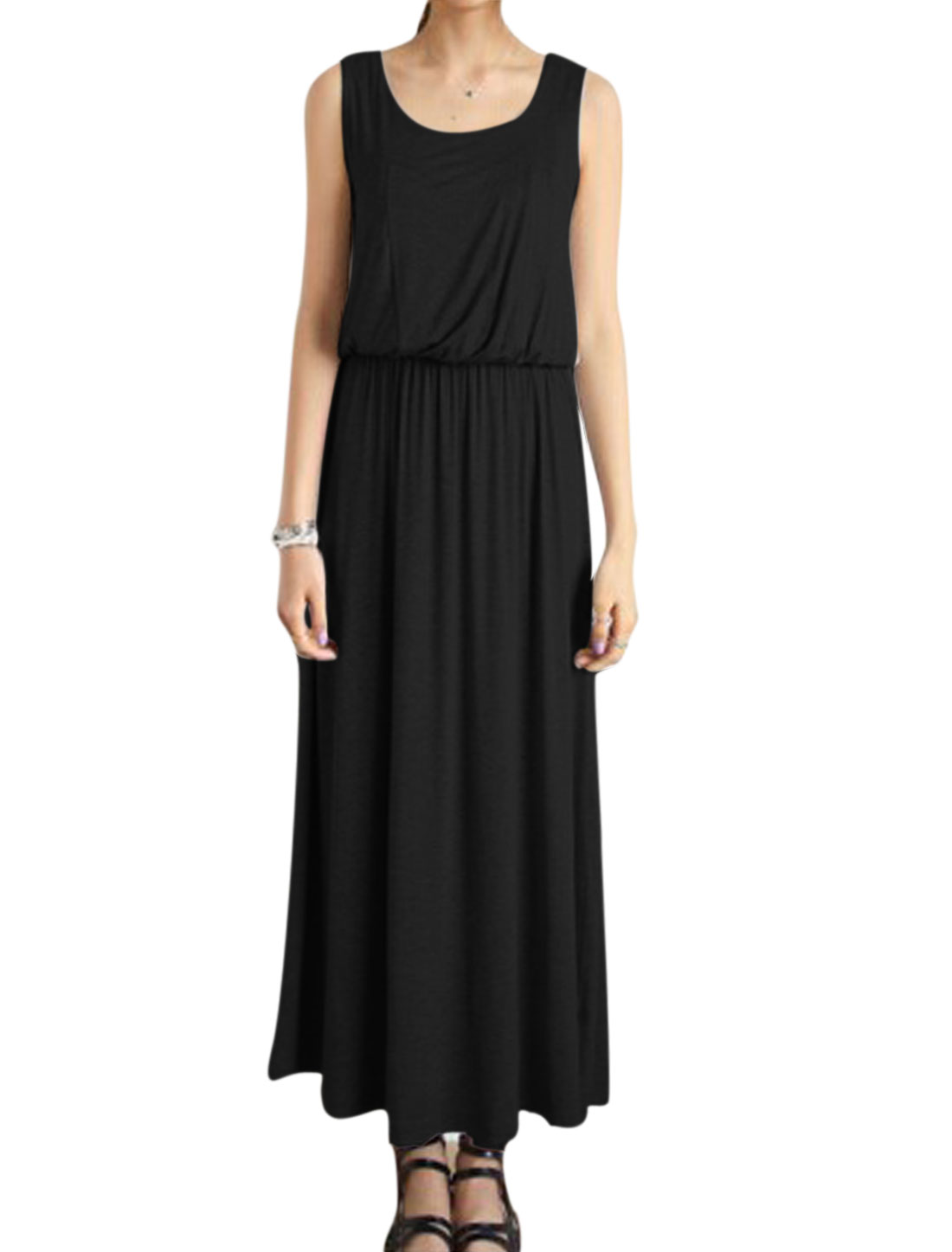 Women Sleeveless Stretchy Waist Unlined Casual Maxi Dress Black XS