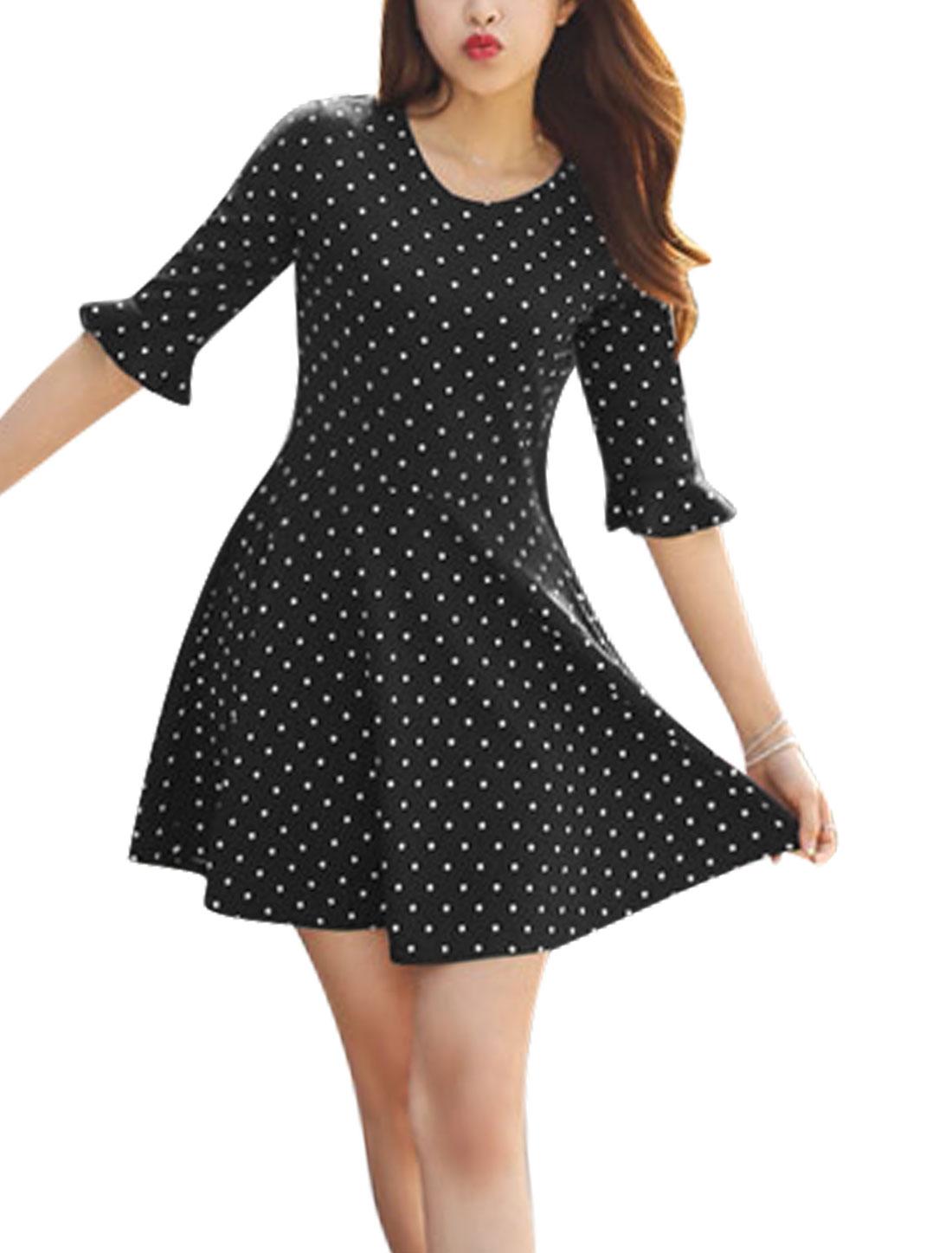 Ladies Round Neck Polka Dots Print Unlined Skater Dress Black S