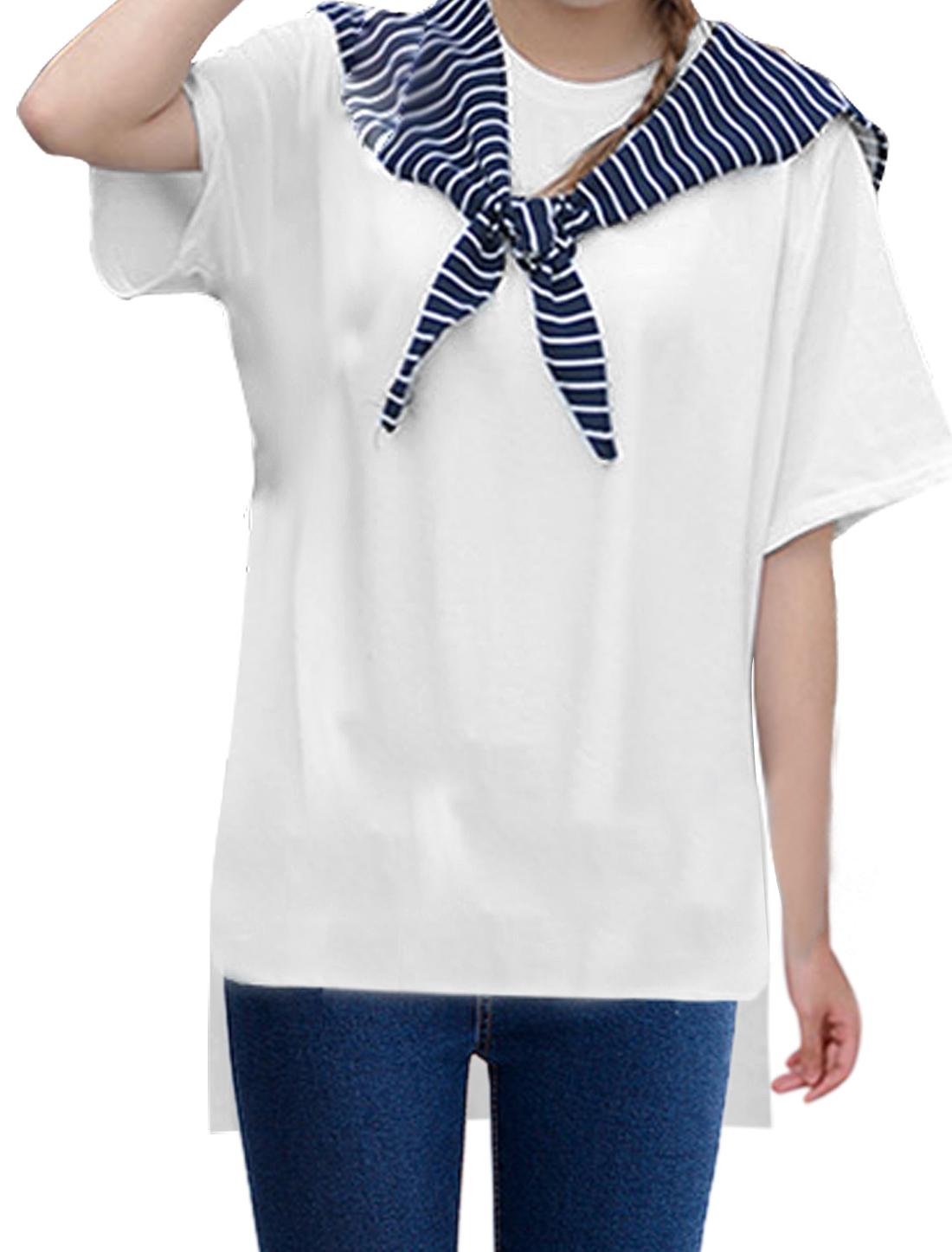 Ladies Short Sleeve Detachable Collar High-Low Hem Tunic T-Shirt White XS