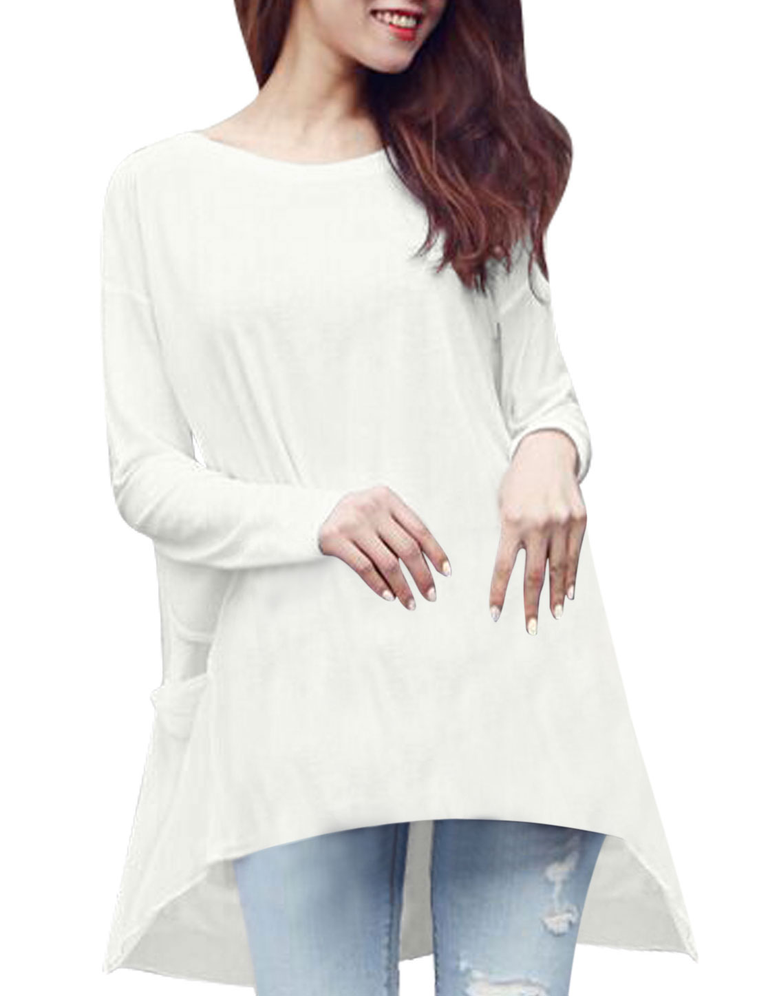 Women Round Neck Long Dolman Sleeves Chiffon Panel Layered Tunic Tops White M
