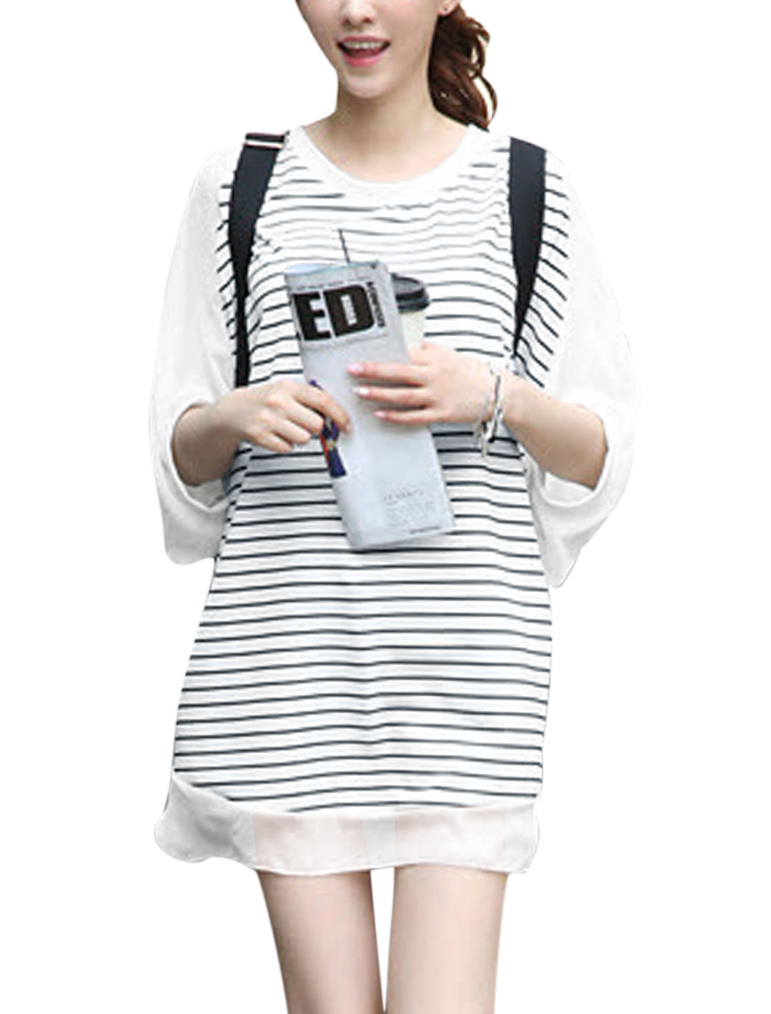Woman Stripes Chiffon Panel Half Raglan Sleeves Casual Tunic Top White L