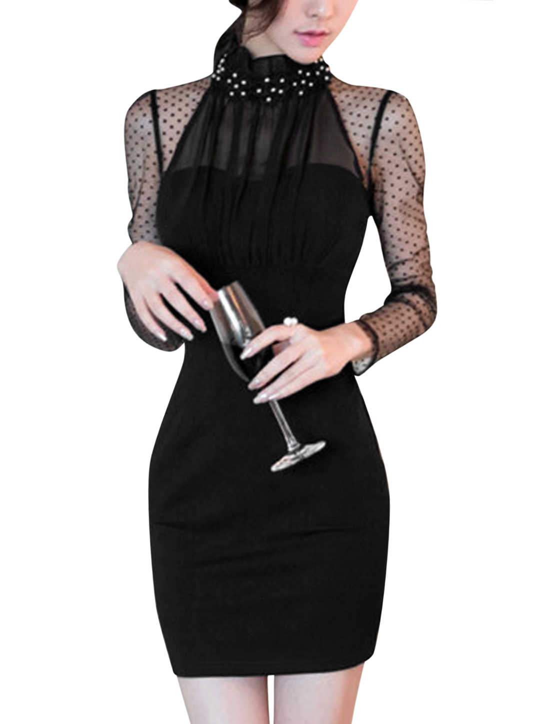Woman Beaded Upper Dots Design Mesh Panel Ruffled Collar Bodycon Dress Black S