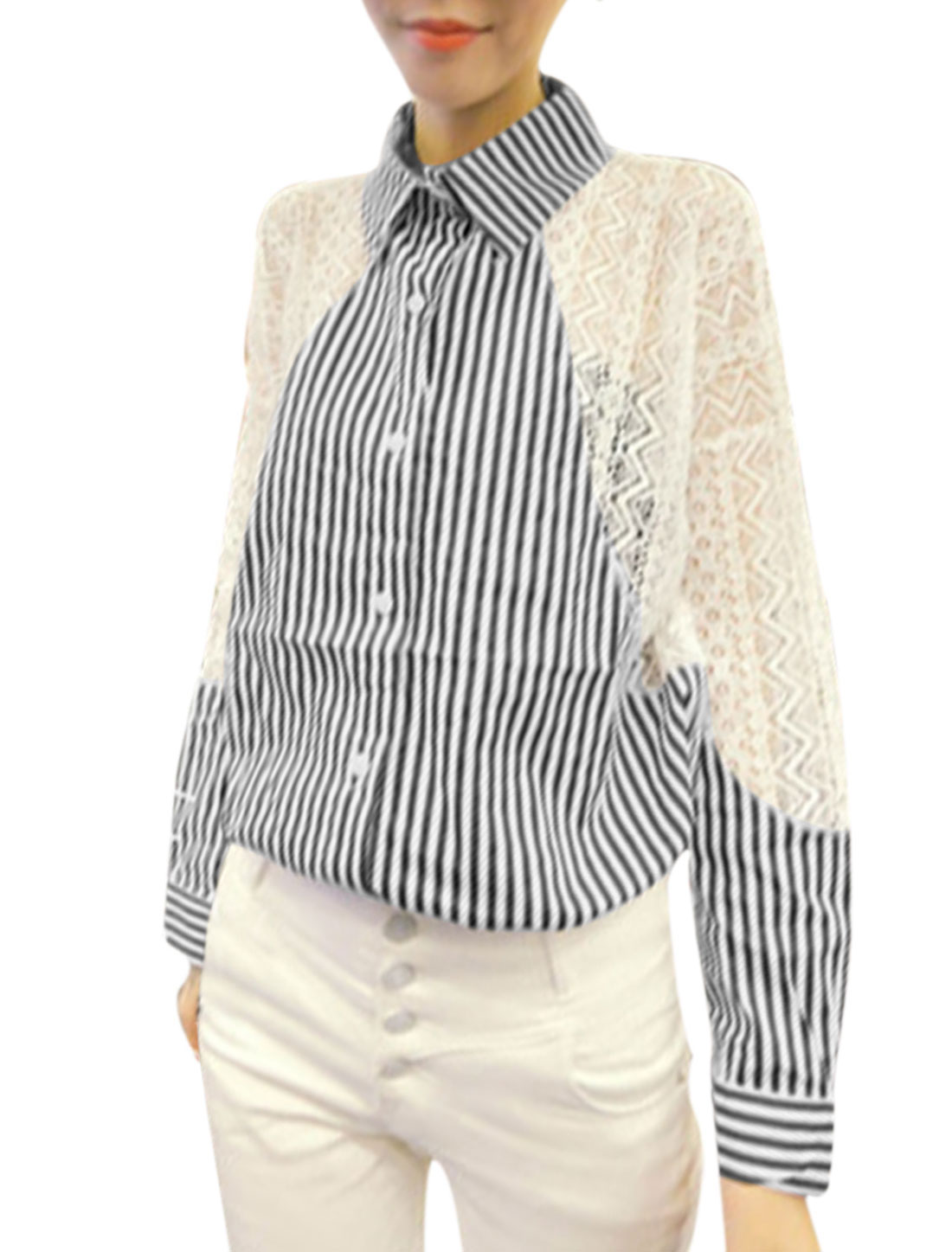 Woman Vertical Stripes Lace Panel Point Collar Long Sleeves Shirt Dark Blue White XS