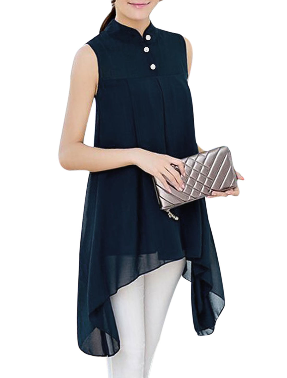Women Stand Collar Asymmetric Hem Loose Chiffon Tunic Top Navy Blue S