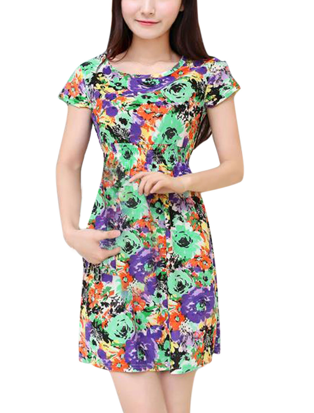 Woman Floral Prints Round Neck Short Sleeves Casual Dress Multicolor XS
