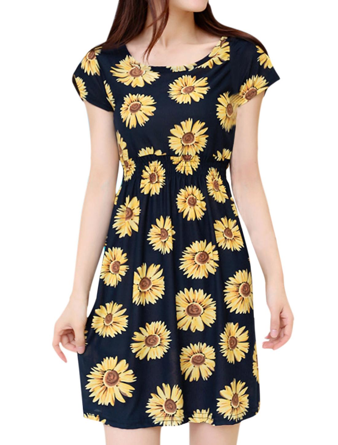 Ladies Sunflowers Pattern Elastic Waist Round Neck A Line Dress Black XS
